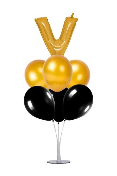 Siyah-Altın V Harf Balon Standı Seti 22 Parça