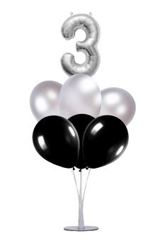 Siyah-Gümüş 3 Rakam Balon Standı Seti 22 Parça - Thumbnail