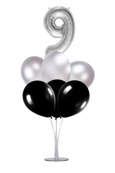 Siyah-Gümüş 9 Rakam Balon Standı Seti 22 Parça - Thumbnail
