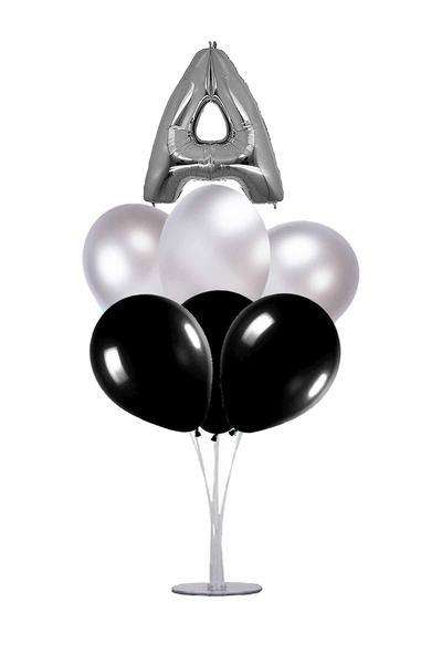 Siyah-Gümüş A Harf Balon Standı Seti 22 Parça