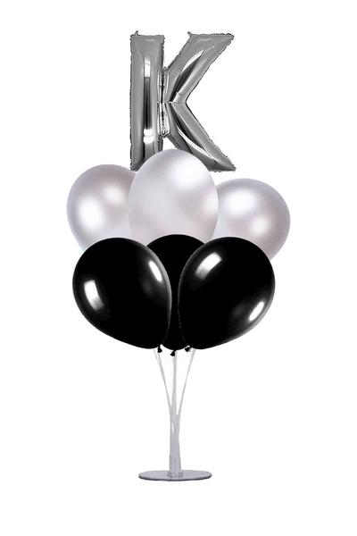 Siyah-Gümüş K Harf Balon Standı Seti 22 Parça