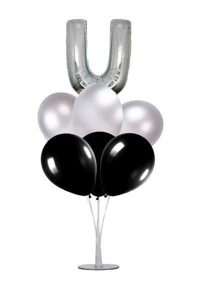 Siyah-Gümüş U Harf Balon Standı Seti 22 Parça