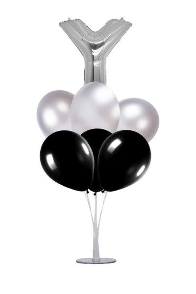 Siyah-Gümüş Y Harf Balon Standı Seti 22 Parça