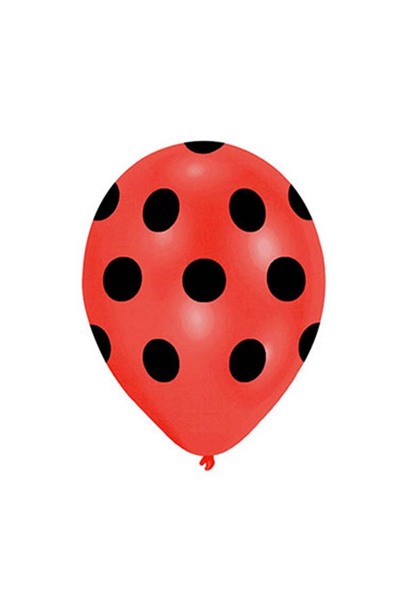 Siyah Puantiyeli Kırmızı Balon 30cm (12 inch) 50li