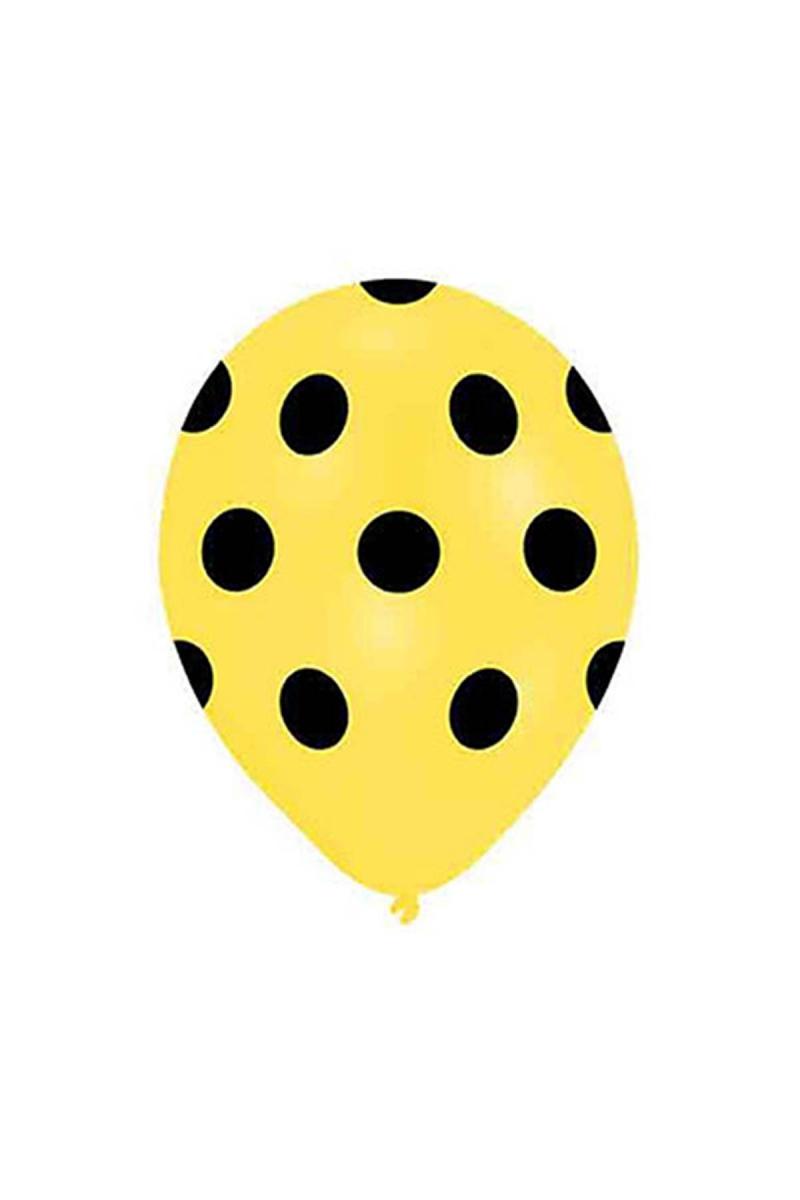 Siyah Puantiyeli Sarı Balon 30cm (12 inch) 20li