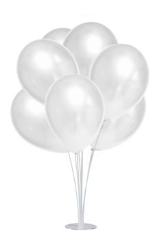 Standlı Metalik Beyaz Balon Seti 11 Parça - Thumbnail