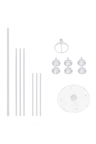 Standlı Metalik Beyaz Balon Seti 11 Parça