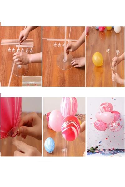 Standlı Metalik Pembe Balon Seti 11 Parça