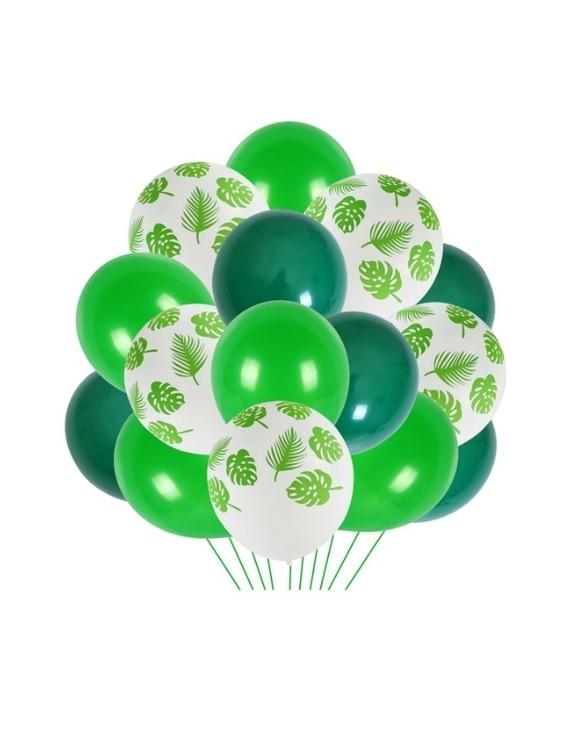 Yaprak Baskılı-Yeşil Balon Demeti 30 Parça