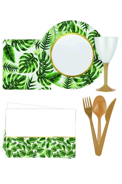Yeşik Yapraklar Plastik Lüks Piknik-Sofra Seti