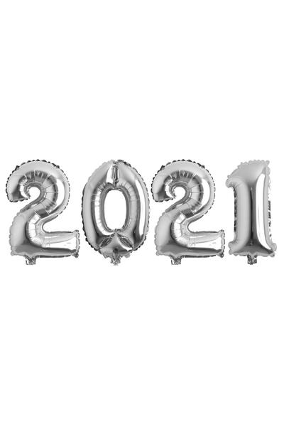 Yılbaşı 2021 Gümüş Folyo Balon Seti 90cm