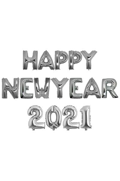 Yılbaşı 2021 Happy New Year Gümüş Folyo Balon Seti 40cm