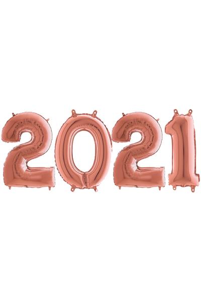 Yılbaşı 2021 Rose Gold Folyo Balon Seti 90cm