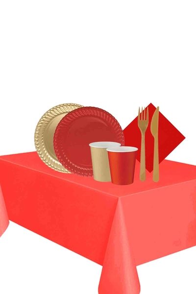 Yılbaşı Altın-Kırmızı 16 Kişilik Karton Sofra Seti 103 Parça Model 1