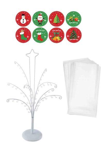 Yılbaşı Dilek Ağacı ve Etiketli Kurabiye Poşeti Set