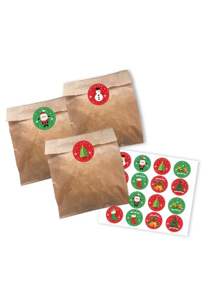 Yılbaşı Naturel Kurabiye Poşeti Sticker Set 56 Parça