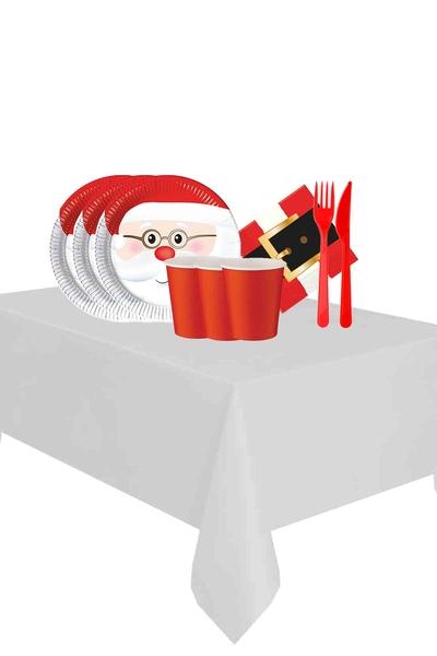 Yılbaşı Noel Baba Partisi Sofra Seti 24 Kişilik 119 Parça Model 1