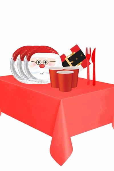 Yılbaşı Noel Baba Partisi Sofra Seti 24 Kişilik 119 Parça Model 3