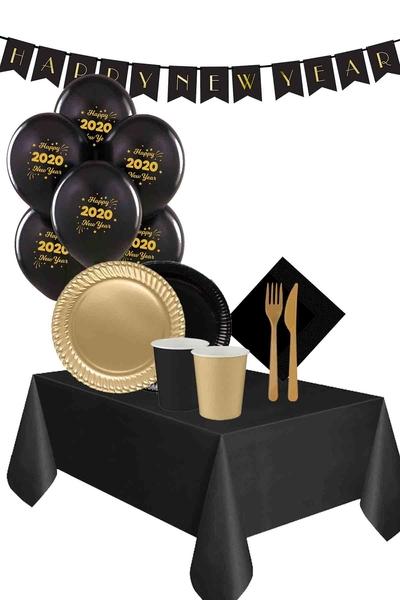 Yılbaşı Siyah-Altın 16 Kişilik Karton Sofra Seti 114 Parça Model 5