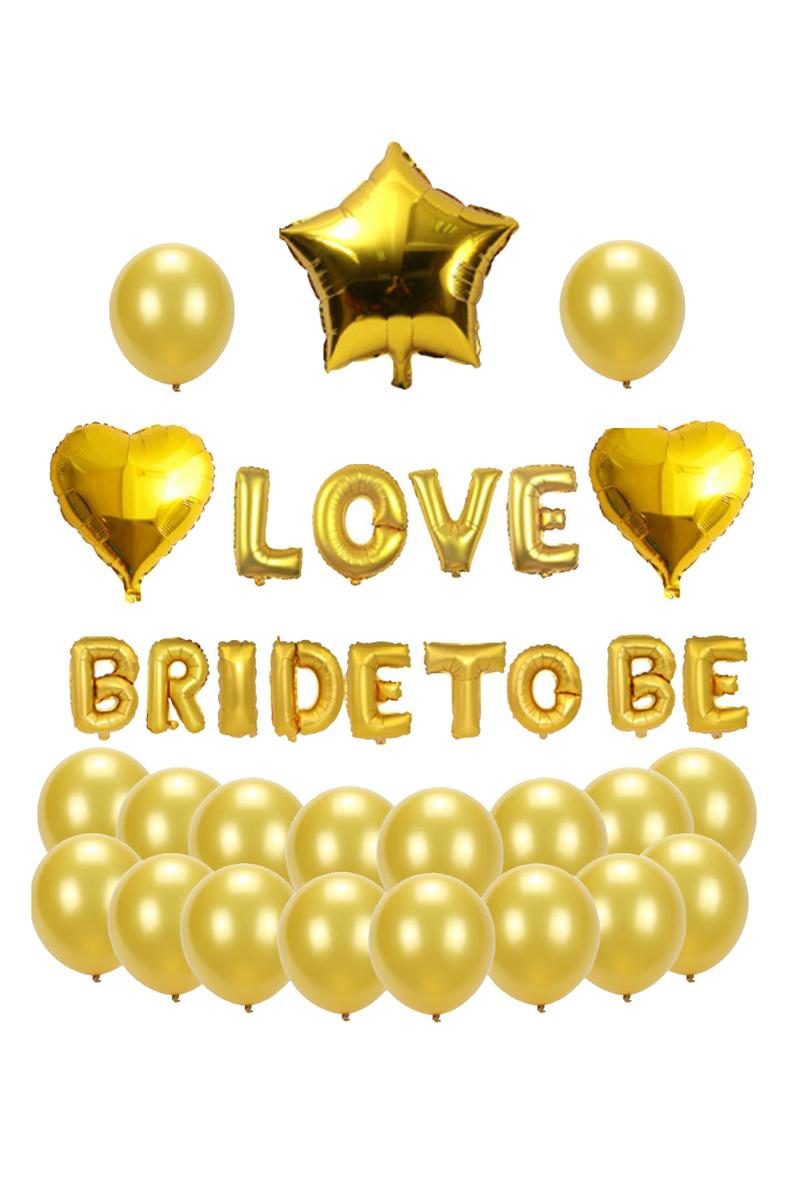 LOVE BRIDE TO BE Kalpler ve Yıldız Folyo Balon Set 40cm