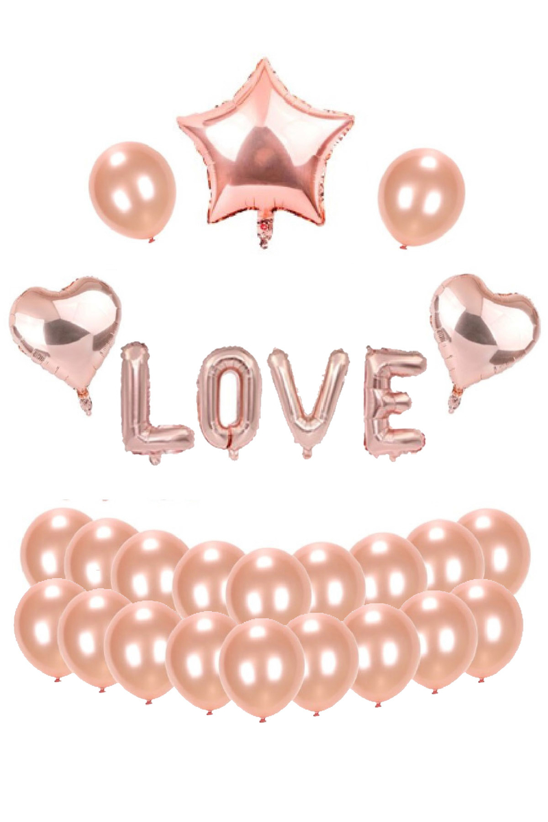 LOVE Rose Gold Kalp ve Yıldız Folyo Balon Set 90cm