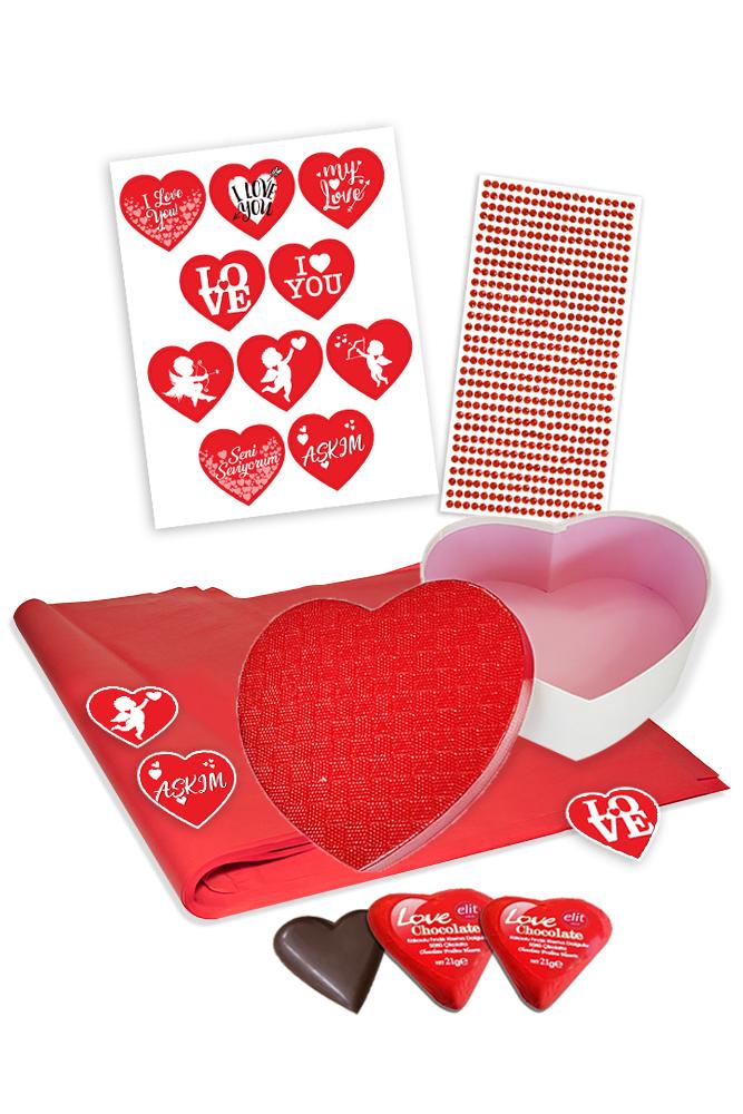 Metalik Kalp Kutu ve Hediye Paketleme Seti