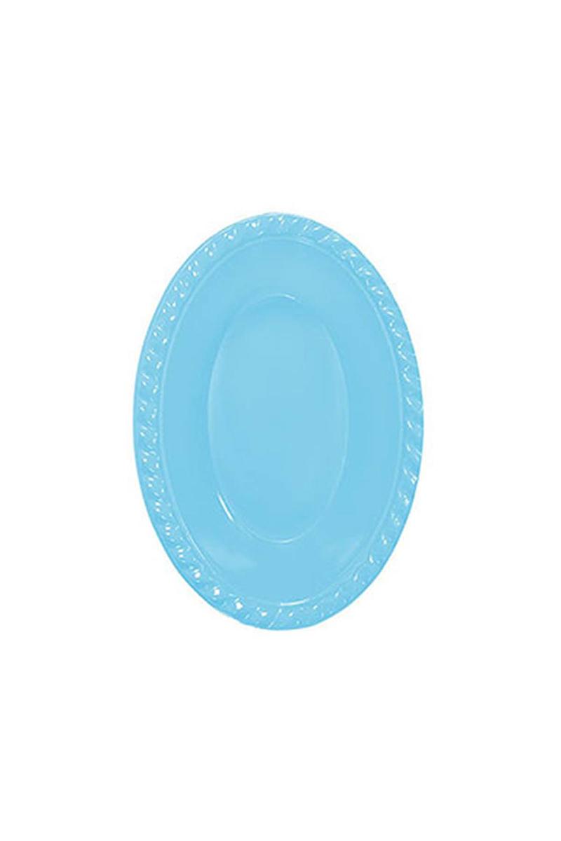 Roll-Up Plastik Oval Kase Açık Mavi 12 x 17cm 8li