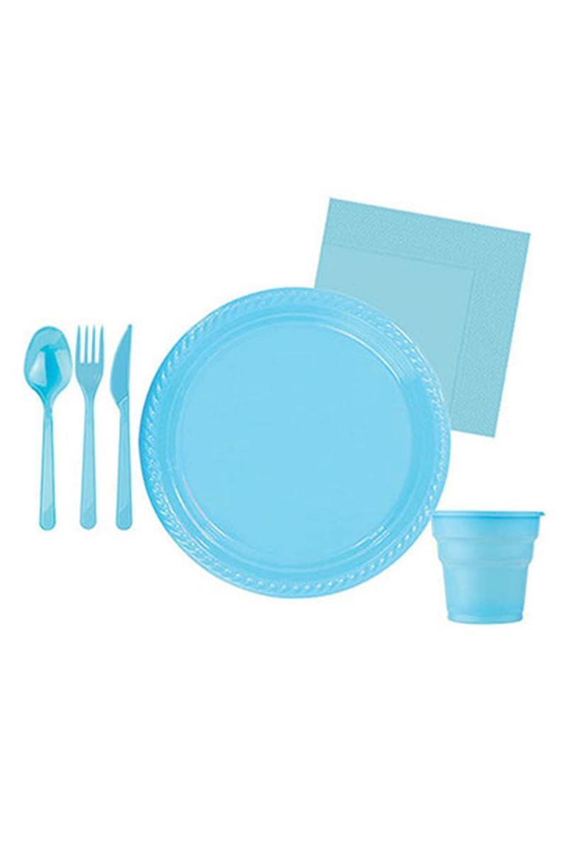 Roll-Up Açık Mavi Plastik Parti Seti 10 Kişilik 115 Parça - Thumbnail