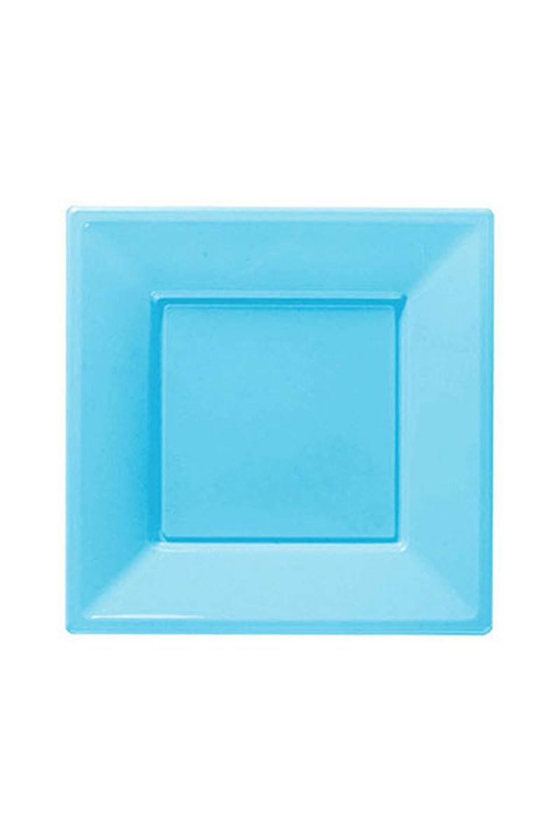 Roll-Up Plastik Kare Tabak Açık Mavi 23cm 8li