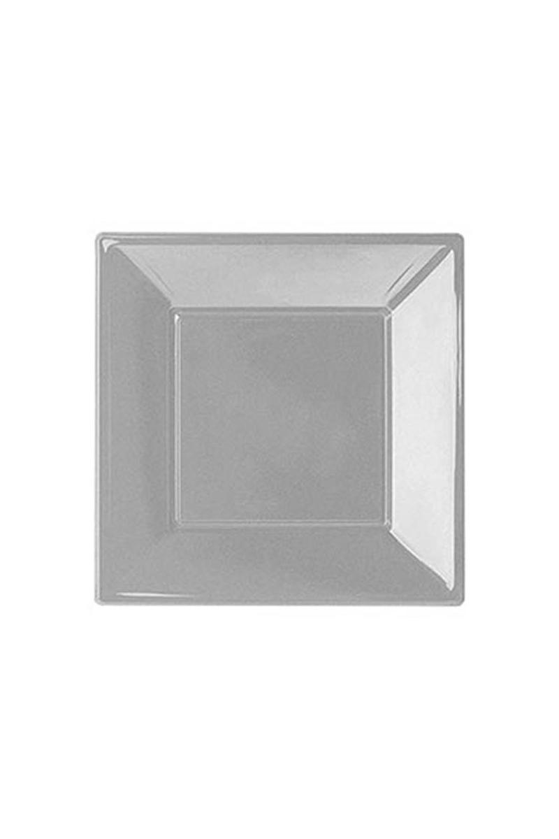 Roll-Up Plastik Kare Tabak Gümüş 17cm 8li
