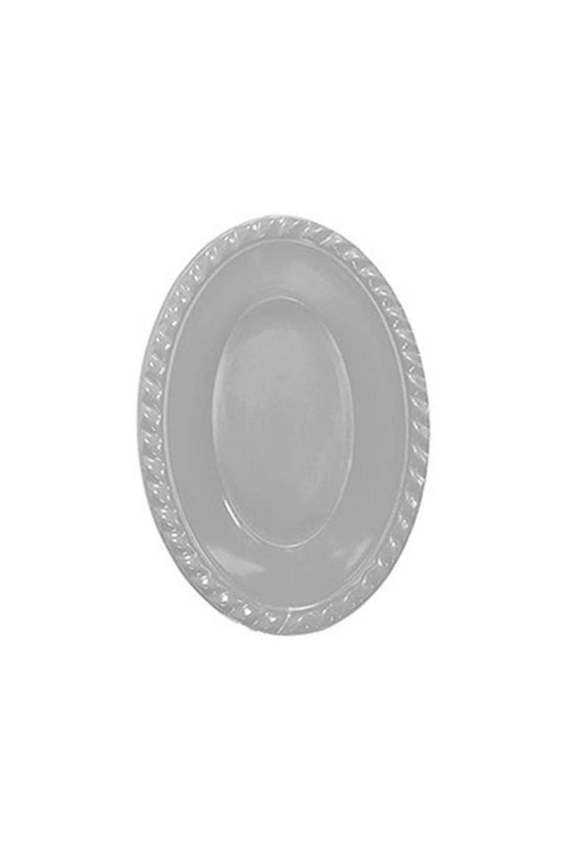 Roll-Up Plastik Oval Kase Gümüş 12 x 17cm 8li