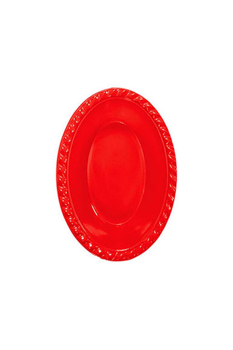 Roll-Up Plastik Oval Kase Kırmızı 12 x 17cm 8li