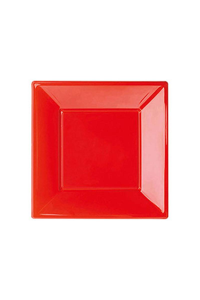 Roll-Up Plastik Kare Tabak Kırmızı 17cm 8li