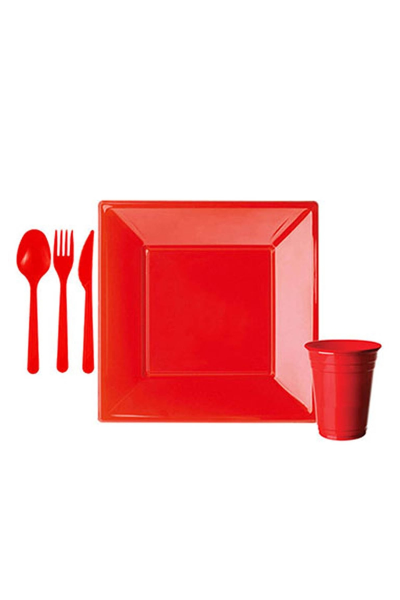 Roll-Up Kırmızı Plastik Kare Sofra Seti 8 Kişilik 91 Parça