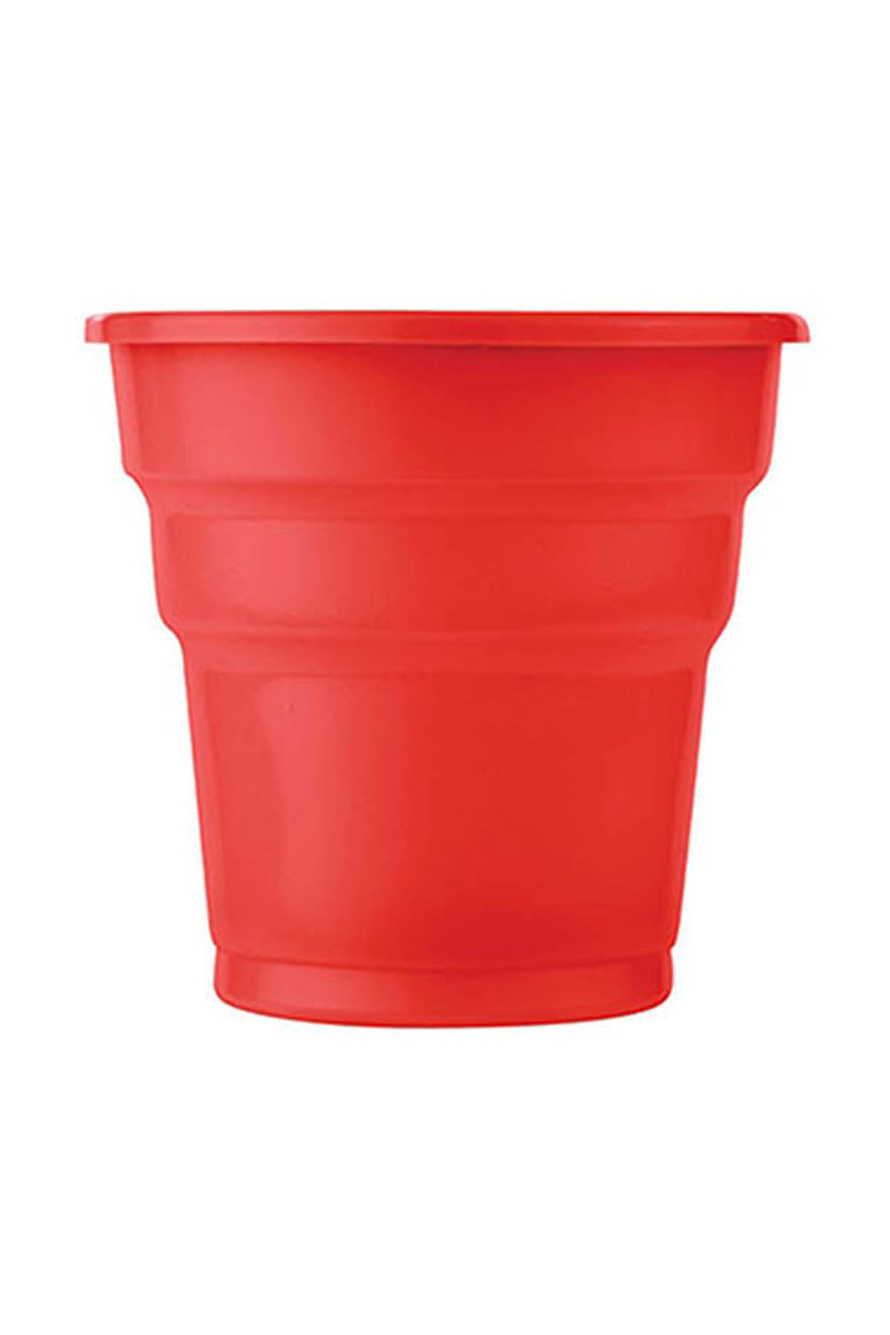 Roll-Up Plastik Meşrubat Bardağı Kırmızı 180cc-7oz 10lu