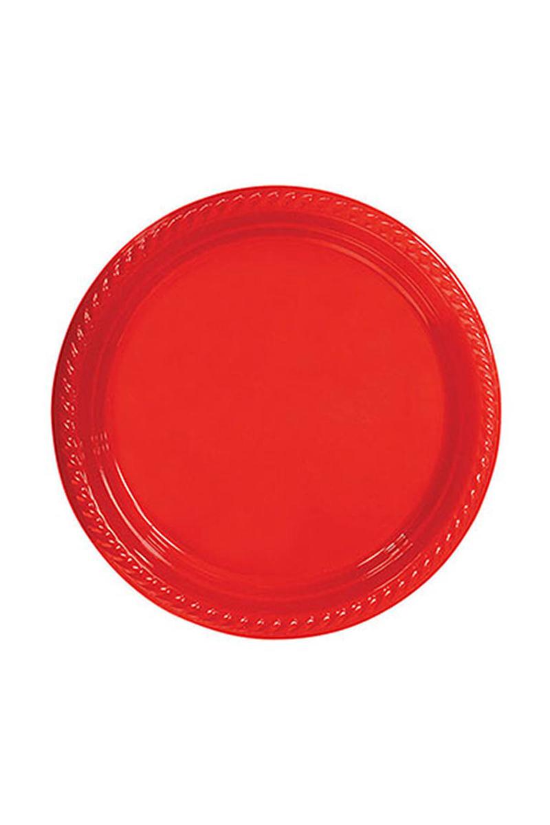 Roll-Up Plastik Tabak Kırmızı 22cm 10lu