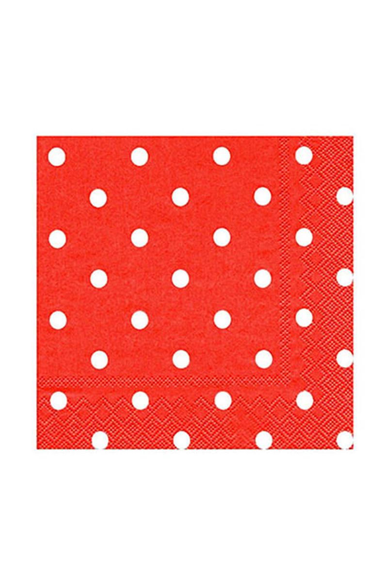Roll-Up Kağıt Peçete Beyaz Puantiyeli Kırmızı 33 x 33cm 20li