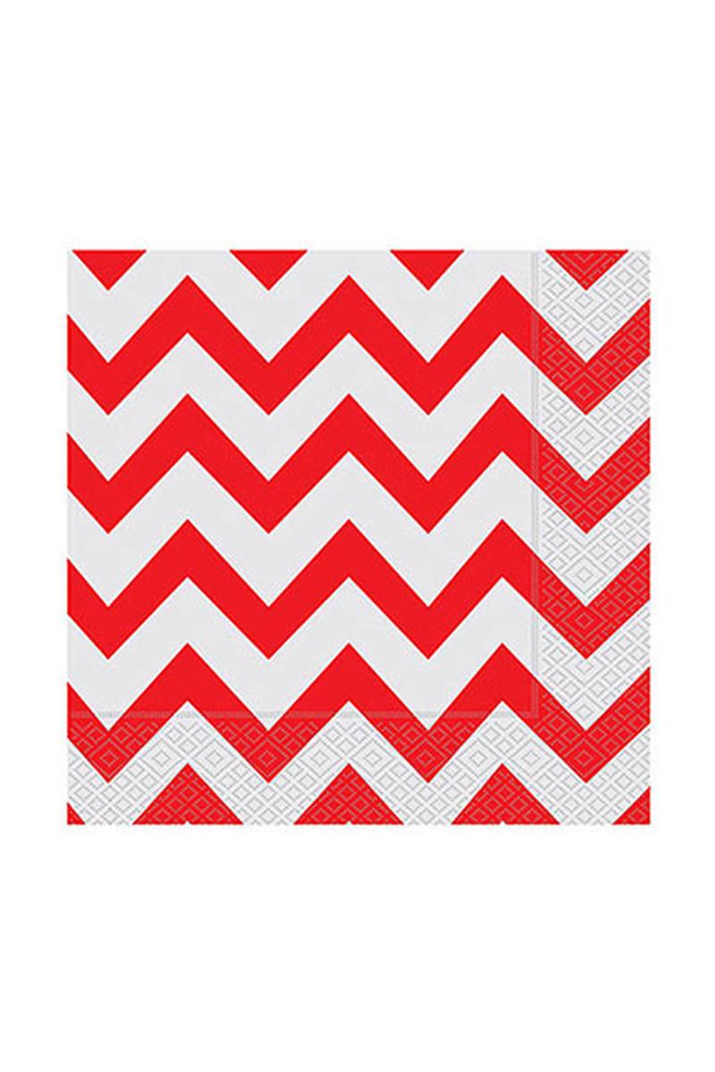 Roll-Up Kağıt Peçete Kırmızı Zigzag 33 x 33cm 20li