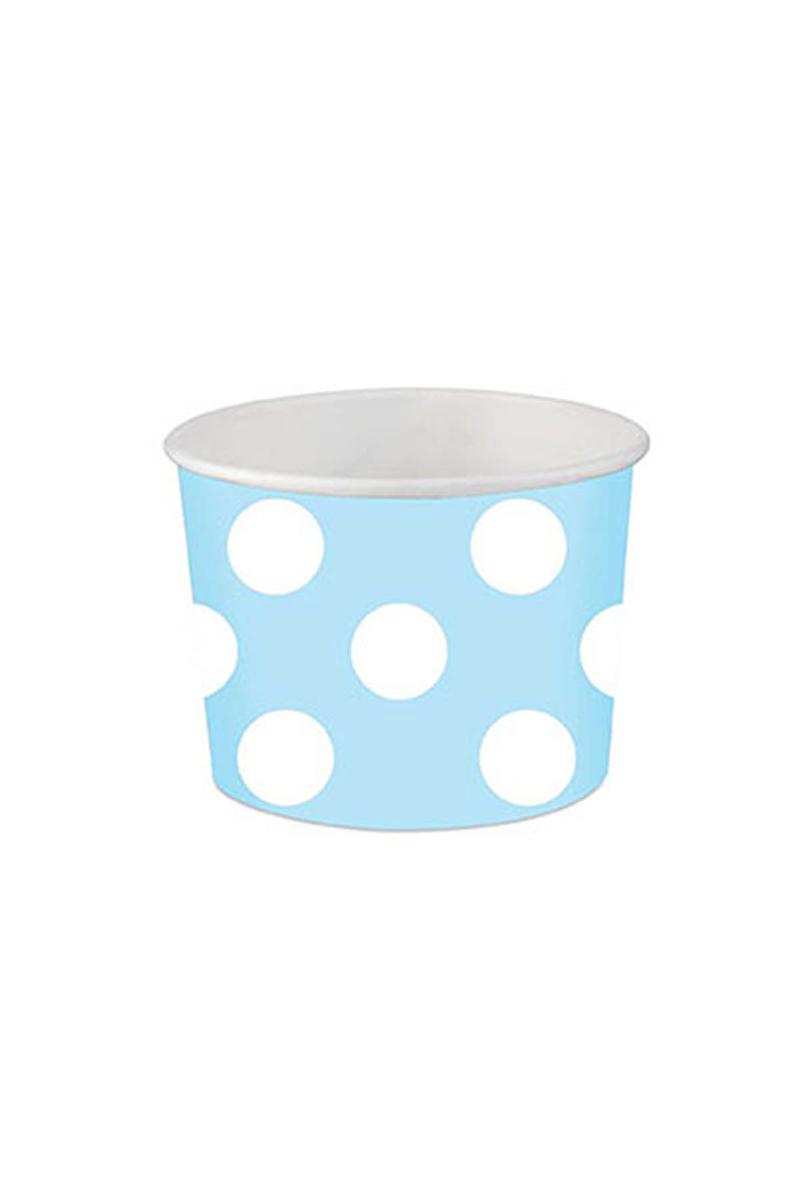 Roll-Up Karton Kase Açık Mavi Puantiyeli 9 x 6,5cm 8li