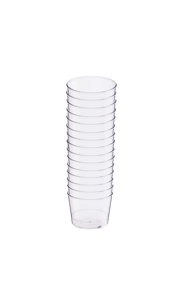 Plastik Kristal Silindir Tatlı Kasesi 180cc 15li