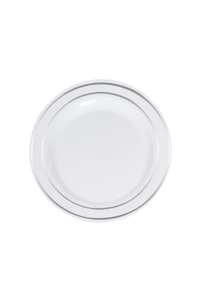 Roll-Up Lüks Plastik Tabak Gümüş Yaldızlı Beyaz 19cm 6lı