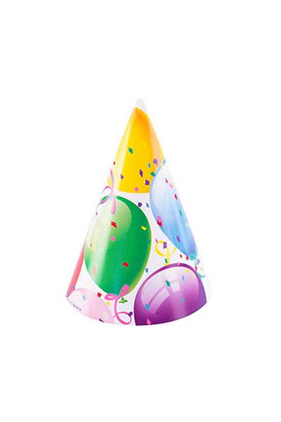 Roll-Up Rengarenk Balonlu Külah Şapka 6lı