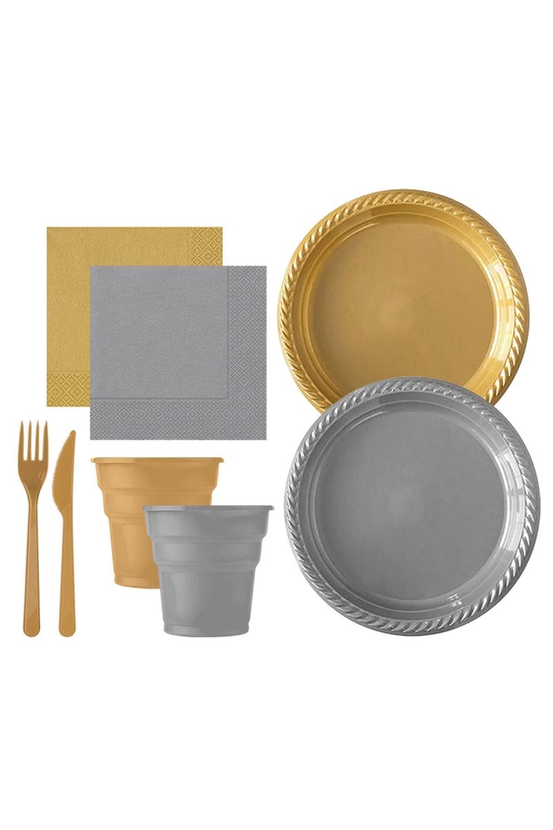 Roll-Up Altın-Gümüş Plastik Sofra Seti 20 Kişilik 130 Parça