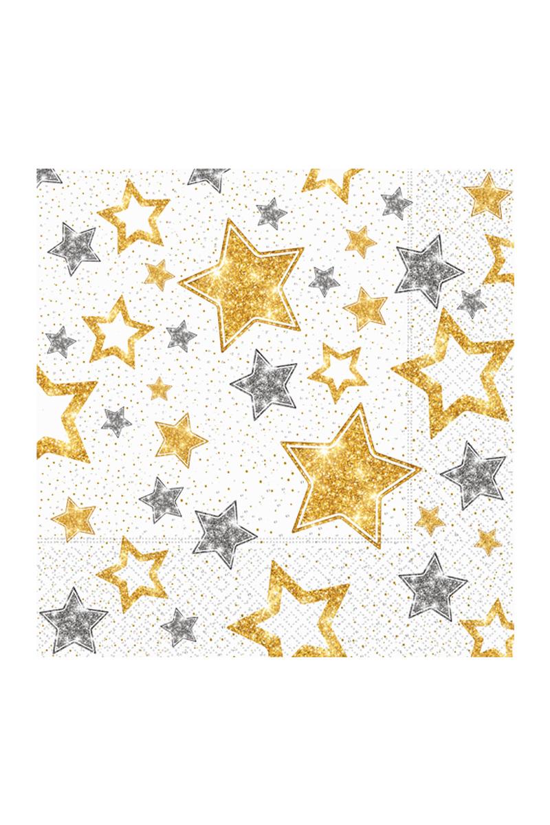 Roll-Up Kağıt Peçete Yıldızlar Beyaz 33cm x 33cm 20li