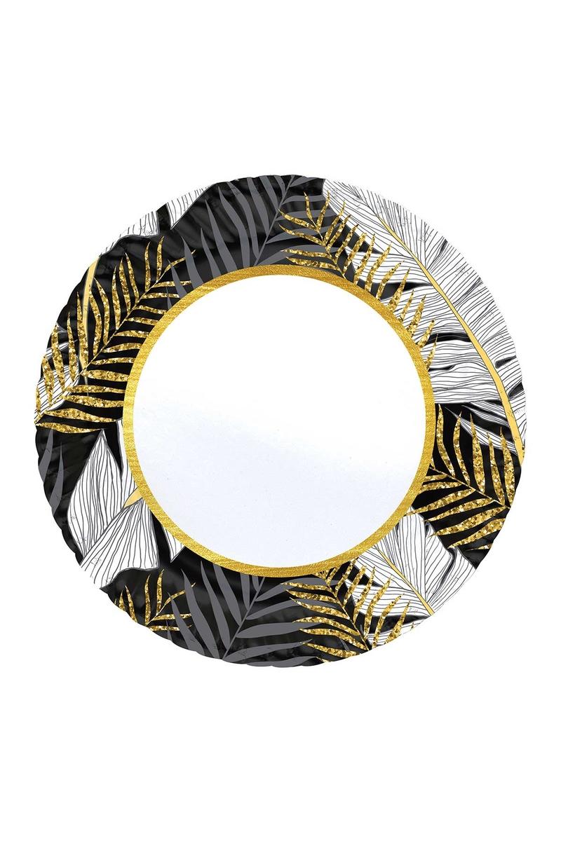 Roll-Up Karton Tabak Altın Simli Yapraklar Siyah 23cm 8li