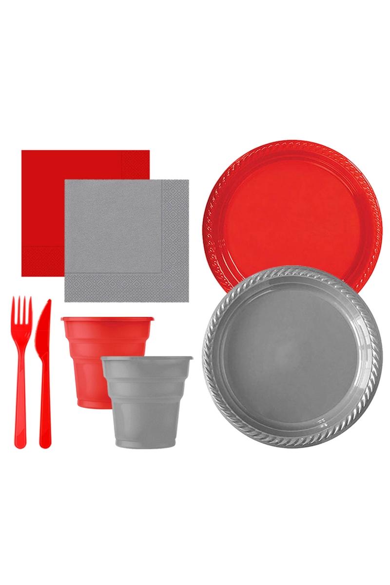 Roll-Up Kırmızı-Gümüş Plastik Sofra Seti 20 Kişilik 130 Parça
