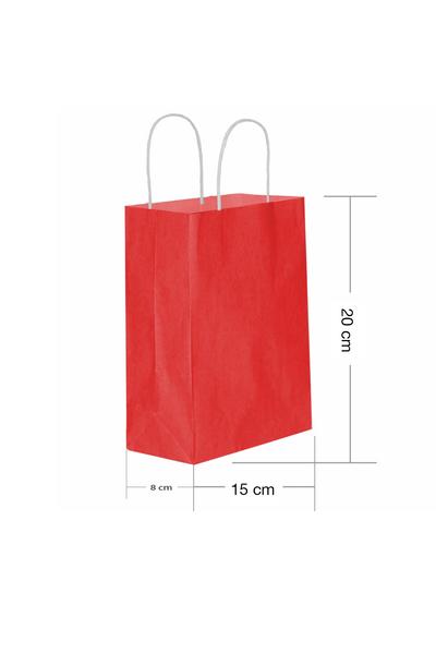 Roll-Up Kraft Çanta Kırmızı Minik Boy 15x20cm 25li