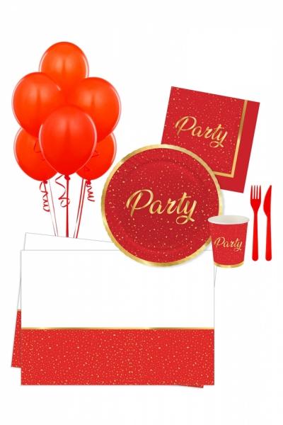 Roll-Up Parti Zamanı Kırmızı Parti Seti 16 Kişilik 113 Parça