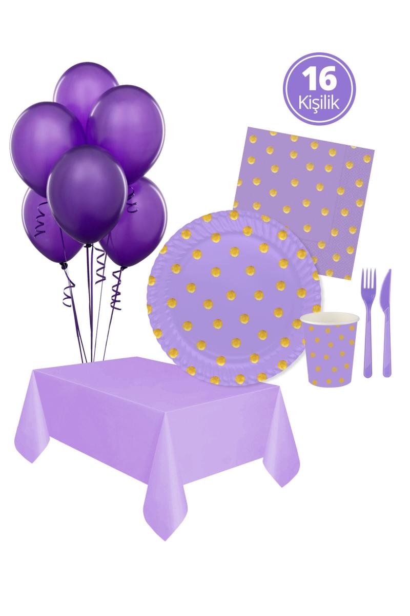 Roll-Up Pastel Düşler Lila Parti Seti 16 Kişilik 113 Parça - Thumbnail