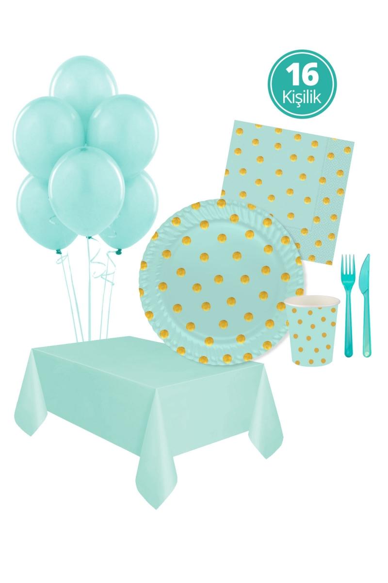 Roll-Up Pastel Düşler Mint Yeşili Parti Seti 16 Kişilik 113 Parça - Thumbnail